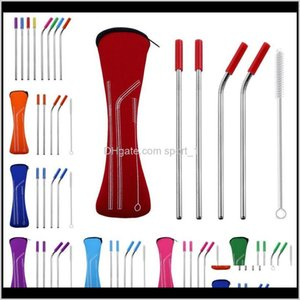 Drinking Sts Barware Kitchen, Dining Bar Home & Garden Drop Delivery 2021 Reusable Stainless Steel Straight Bent Cleaning Brush 6Pcs   Set Ju