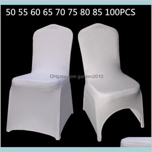 Chair Covers & Sashes Home Textiles Garden 50 55 60 65 75 80 85 100Pcs White Universal Stretch Polyester Wedding Party Spandex Drop De