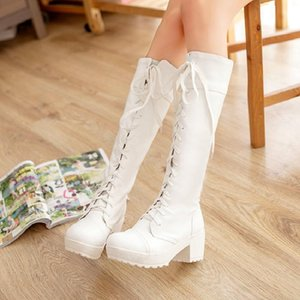 Women's cosay role play stage lace up white thick black high tube Martin boots Brand Men Women Waterproof Leather Sneakers