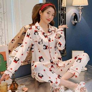 Satin Womens PJ Sets Femmes Soie Pyjamas Pyjamas Ensemble de Sleepwear Dames Mesdames à manches longues Nocations de nuit Cute Top et Pantalon Pijama Costume