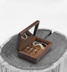 Travel Wood Wooden Jewelry Packing Case Portable Wedding Ring Necklace Bracelet Organizer Women Men Display Box Gift For Couples Storage Box
