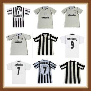 Santos 1993 1998 1999 2001 retrô camisa de futebol 93 98 99 01 uniformes de camisa de futebol vintage casa longe preto branco tailandês qualtiy mens adultos