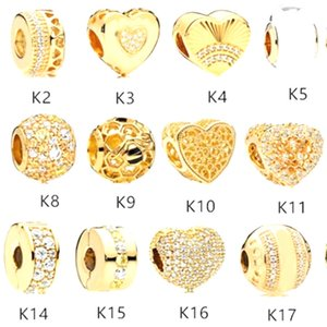 925 Silver Beads Yellow gold Square Charms Fits European For Pandora Style women Jewelry Bracelets