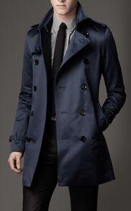 Classic Brand 2021New Мода Длинные Зимние Пальто Slim Fit Мужчины Повседневная Трехкий Человек Мужской Двухбордовые Требовое пальто Великобритания Стиль Управляет Плюс Размер S-5XL