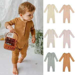 infant Rompers Button Clothes Boy Romper Long Sleeve Newborn Girl elasticity Jumpsuits pure Color Children Bodysuit Baby Boutique Clothing wear outside wmq876