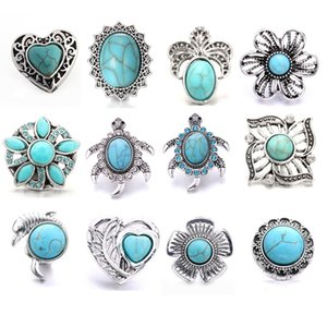 Turquoise Crystal tortoise flower Snap Buttons Clasp Components fit DIY 18mm snaps button bracelet Necklace ACC ingredients supplier Jewelry