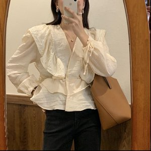 Ladies Womens Shirt Blouses Korean OL Vintage V neck Long Sleeve Ruffles Stitching Elegant Top Loose Women