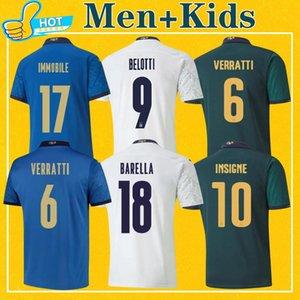 Italia 2020 Soccer Jersey إيطاليا HOME THUTTER INSTIGNE IMMOBILE 20 21 Maillot Italie أعلى جودة قميص كرة القدم رجل + Kids Kit