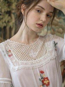 Casual Dresses Spring Women Korean Sweet Vintage Elegant Long Luxury Embroider Big Swing Mori Girls White Loose Midi M57U