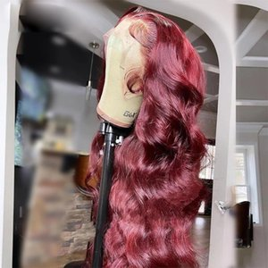 Lace Wigs Colored Burgundy Front Human Hair Body Wave Red Frontal For Women Transparent 13*6 Wig Peruvian Remy