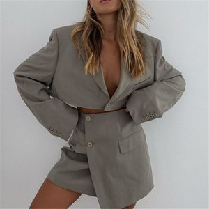 2021 Fashion Office Ladies Blazer Set Womens Long Sleeve Cardigan One Button Notched Covered Hip Short Skirt Suit