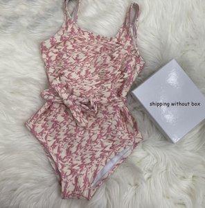 Kids Girls One Piece Child Cute Bikini Sleeveless Tie Swimsuit Split Fashion Letter Printed Beach Chidren Swimwear Summer 2021