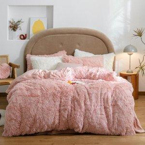 Bedding Sets Long Mink Hair Set +cashmere Fleece Duvet Cover Thicken Warm Bed Linen (no Pink Filling) Sweet