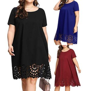 Plus Size Women Midi Dress Summer Solid Color Short Sleeve O-Neck Hollow Out Casual Ladies Loose Dresses#35 Dresses