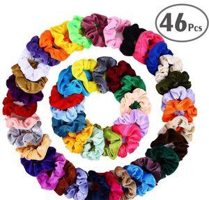 Accessories Wholesale 46Pcsset Vintage Scrunchies Stretchy Veet Scrunchie Pack Women Elastic Hair Bands Girl Headwear Rubber Ties Kkzq 2Twrm