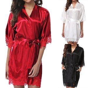 Mulher Satin Silk Mulher Lace Sleepwear Feminino Bathrobe Womens Sleep Wear Senhoras Sexy Robes Plus Size S-5XL
