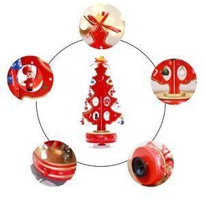 Birthday Classic Music Box Wooden Clockwork Design Christmas Tree With Pendants Miniature Handmade Music Box For Valentines Gift dsf1022