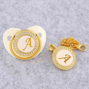 Golden Initial Letter Baby Pacifier With Chain Clip Luxury Sucette Bebe BPA Free White Chupete For 0-18 Months 210407