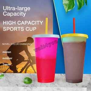 710ML 24oz Plastic Cold Water Color Changing Cup Tumbler Discoloration Changing Reusable Colour Cup With Straws Magical Mug Straws Set
