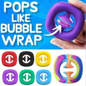 Rainbow Fidget Grab Snap Toke Toy Рука Snappers Руки Сила Руководства Грибс Снязь Сжимание Сенсорный Игрушки Аутизм Средства Стремления H31CWSV