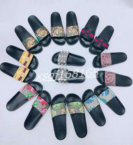 Men Women Slippers Marque Designer Rubber Slides Sandal Flat Blooms Strawberry Tiger Bees Green Black White Fashion Shoes Beach flip flop 36-46