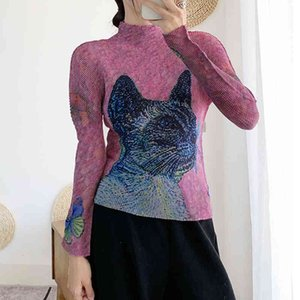 polo Changpleat Spring New long sleeve Printed Women T-shirts Tops Miyak Pleated Fashion turtleneck elasticity Slim Female T-shirt T9