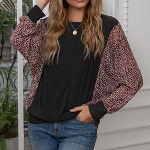 Fashion loose leopard stitching round neck bat sleeve plus size T shirt top female