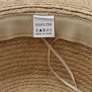 100% Straw Pork Pie Sailor Boater Flat Top Hat New Fashion Outdoor Summer Street Party Beach Caps For Women's Men's Wide Brim