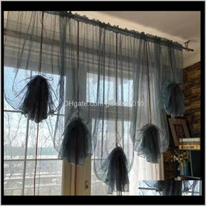 Pure Color Lift Balloon Finished Sector Lifting Korean Curtains Waterfall Curtain Foreign Trade Lace Window Screen B7Sa6 Dgiaq