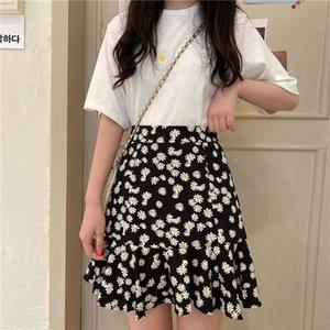 Skirts Spring Summer Black Floral High Waist Elastic Harajuku Vintage Streetwear Loose Chiffon Womens Skirt Clothing Short