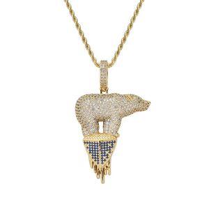 Anhänger Halsketten Hip Hop Cubic Zirkonia asphaltiert Bling Euro aus Eisbär Tier Anhänger Halskette Für Männer Rapper Schmuck Gold Silber Col