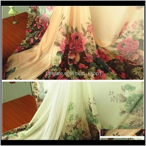 And Sewing Textiles Home Garden Drop Delivery 2021 2Meterslot Green Pink Floral Print Chiffon Gauze Elegant Dress Fabric Tecido T200810 Pbgqc