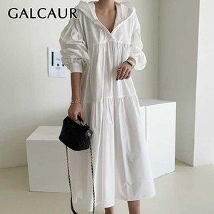 Vestido vintage de Galcaur para mulheres colarinho com capuz lanterna manga longa retalhos soltos coreanos vestidos femininos queda nova roupa 210324