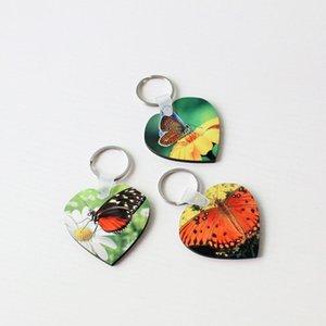 Leerer Sublimation Schlüsselanhänger Party Gunst MDF Herz Runder Schlüsselanhänger Drucken Weißer Schlüsselanhänger Schmuck Material Verbrauchsmaterialien GGA4554