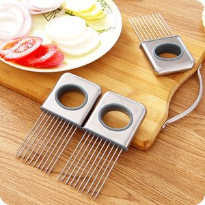 Easy Onion Holder Slicer Vegetable tools Tomato Cutter Stainless Steel Kitchen Gadgets No More Stinky Hands CCF6524