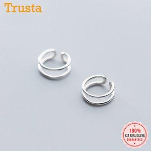 TrustDavis Minimalist 925 Sterling Sier Publy Manchet Clip para mujeres sin pendientes Pendientes DA947