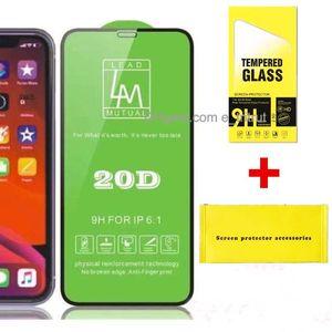 LM 20D Protetor de tela cheia de vidro temperado para iphone 12 11 pro máximo xs xr 6 7 8 mais samsung a30 a10 a10 a71 nota 9 com pacote de varejo instalar acessórios kits mq100