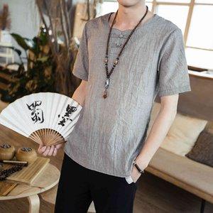 Tshirt Summer Chinese Style Men's Casual Round Ne Algodón Lino Color Sólido V-NE Manga Corta Camiseta Desgaste