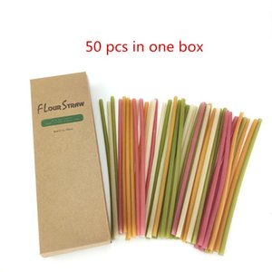 Drinking Straws 50pcs lot Edible Rice Biodegradable Okara Bagasse Wheat Straw Eco-friendly Colorful Esculent Disposable