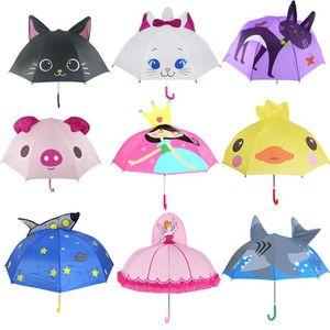 Umbrellas Cute Cartoon Umbrella Kids Animation Creative Long-handled 3D Ear Modeling For Children Boys Girls