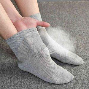 Socks Jong Homens alargados e engordados de algodão fino Beings com malha, suor absorvente e respirável, cinza tubo médio, cor sólida Big foot board