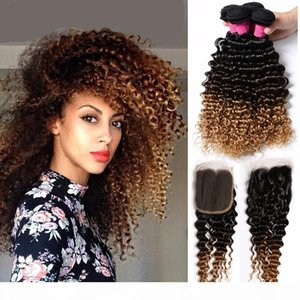 1B 4 27 Three Tone Ombre Peruvian Kinky Curly Virgin Hair 3 Bundles With 4*4 Top Closure Deep Curly Lace Frontal With Bundles