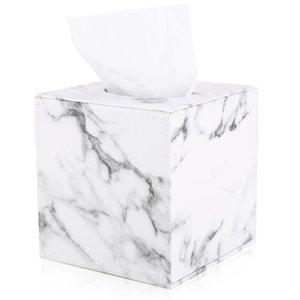 Marble Cube Square Tissue Box PU Leather Roll Tissue Holder Toilet Paper Box Napkin Case Cover Canister Dispenser holder 210330