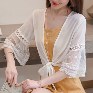 lace crop top Summer lace small shawl ultra-thin short sunscreen clothing cardigan female air-conditioning shirt womens thin cardigan
