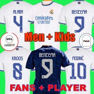 Real Madrid Maillots de football 21 22 HAZARD ALABA  VINICIUS camiseta maillot de uniformes hommes + enfants enfant kits ensembles 2021 2022 de la soccer jerseys tops