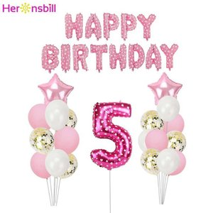 Heronsbill Number 5 Balloons Banner Kits 5th Birthday Party Decorations Boy Girl 5 Years Old Supplies I Am Five Y0923