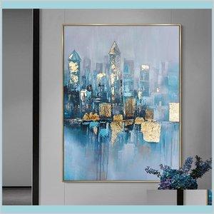 Dipinti Arti, Artigianato Regali Casa Giardino Casa Moderna Abstract Canvas Pittura a olio Gold Picture Soggiorno Decorazione camera da letto decorazione murale Mano