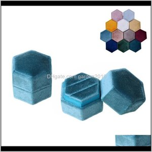 Gift Wrap Veet Double Hexagon Wedding Ceremony Ring Box With Detachable Lid S0Two S4Fzd