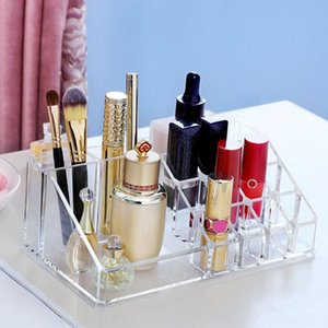 Makeup Organizer Multiple Grid Cosmetic Storage Box Transparent PS Lipstick Rack Jewelry Nail Polish Desktop Container Boxes & Bins