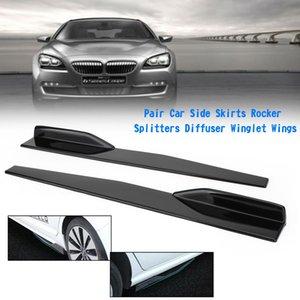 США стоковые 1pair 74.5cm Комплекты автомобильных комплектов Gloss Черные боковые юбки рокерные сплиттеры диффузор Winglet Wings